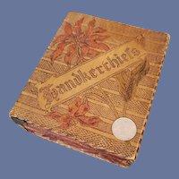 Antique Wood Pyrography Box Handkerchiefs 1900