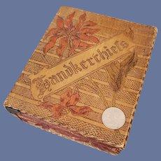 Antique Wood Pyrography Box Christmas Handkerchiefs 1900
