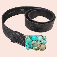 Turquoise Belt Buckle Western Tooled Leather Tony Llama Belt
