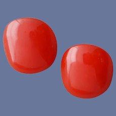 1950s Bakelite Clip Earrings Christmas Red