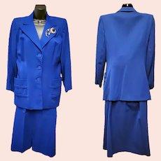 Women's Blue Gabardine Suit Size Large 1941 Post WWII Gorgeous