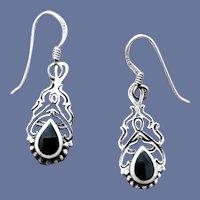Sterling Silver Pierced Earrings Ethnic Design 3 Grams