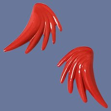 1980s Pierced Earrings Wild Wicked and Really Red