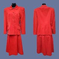 1940s Red Gabardine Suite Women's Size Medium