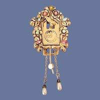 1940s Coro Fur Clip Cuckoo Clock Rhinestones Pegasus Brooch