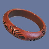 Vintage Bangle Bracelet Dark Sienna Vine Pattern