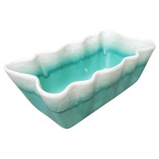 Coronet Planter by Hull Pottery Turquoise Drip Glaze 1950s