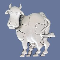 Cow Brooch Silver Tone Classic Moo Cow J.J. 1988