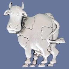 Cow Brooch Silver Tone Classic Moo Cow J.J. 1988