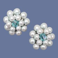 Clip on Earrings Blue Beads and Crystals Costume Jewelry MIJ