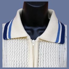 Vintage Unisex Sweater Zip Front Mint 1970s