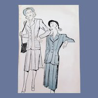 1940s Suit Sewing Pattern Bust 34 Mint in Original Envelope