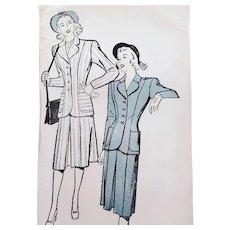 1940s Suit Sewing Pattern Bust 34 Mint in Original Envelope