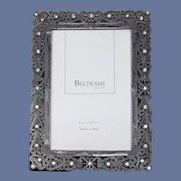 Vintage Picture Frame Silver Plate Enamel Rhinestones Italy