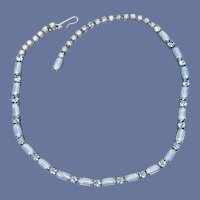 1950s Blue Rhinestone Necklace Fancy Fluid Choker