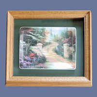 Thomas Kinkade Spring Gate Porcelain Plate Oak Frame Bradford