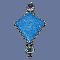 Magnificent Lapis Lazuli Brooch with Faceted Rhinestones