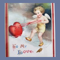 1909 Clapsaddle Valentine Postcard Framed Under Glass