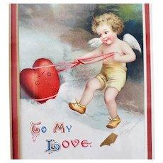 1909 Clapsaddle Valentine Postcard Framed Under Glass