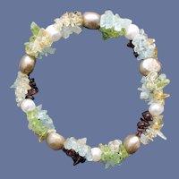 Multi Gemstone and Pearl Bracelet Stretch Small to Medium