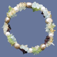 Multi Gemstone and Pearl Bracelet Stretch Small to Medium