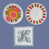 1960s Hallmark Bar Paper Coasters Mod Flowers and Initial K