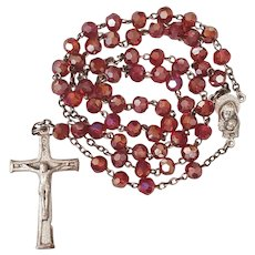 Vintage Rosary Red Crystals Aurora Borealis Easter Gift