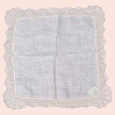 Irish Linen Wedding Handkerchief Hand Made Lace Mint