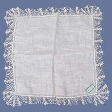 Irish Linen Wedding Handkerchief Handmade Lace Mint