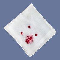 Valentine's Day Handkerchief Embroidered Hearts