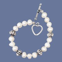 Real Pearl Bracelet with Heart Toggle