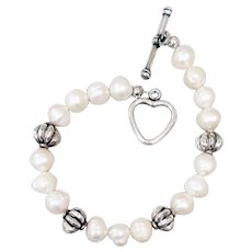 Real Pearl Bracelet for Valentine's Day Heart Toggle