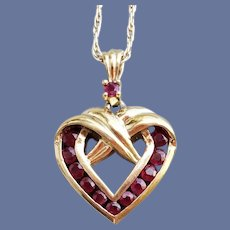 Garnet Sterling Vermeil Heart Necklace Valentine's Day
