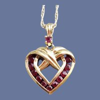 Ruby and Sterling Vermeil Heart Necklace Gold over Silver