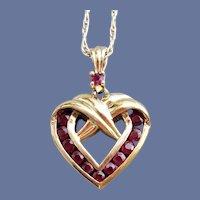 Garnet Sterling Vermeil Heart Necklace Valentine's Day