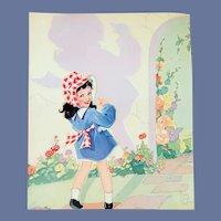Fern Besil Peat Print My Shadow 1940s Little Girl Child Art