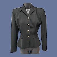1940s Women's Gabardine Jacket Wasp Waist Size Small