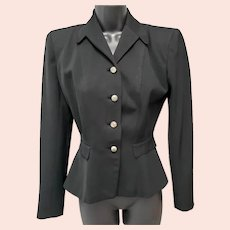 1940s Women's Gabardine Jacket Wasp Waist Size Small