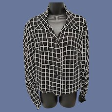 Vintage Blouse Black and White Sheer Window Pane Fabric Bloused Sleeves