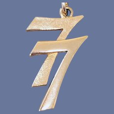 Lucky 77 Gold Tone Metal Numeral Necklace 1977 Signed Avon