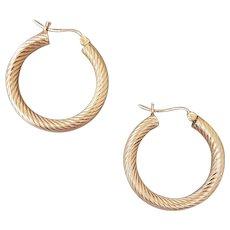 14k Yellow Gold Pierced Earrings Swirled Hoops 3.7 Grams