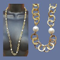 Long Necklace Vermeil with real Pearls 14k Gold Over Sterling