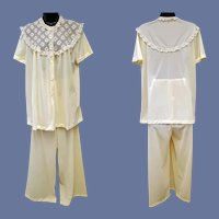Vintage Pajama Set Silky Nylon with Lace Bust 36