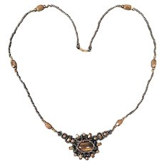 Hand Beaded Necklace Reversible Tiger's Eye Centerpiece
