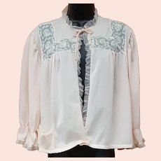 Vintage Bed Jacket Silky Nylon Ruffles and Lace Bust 38