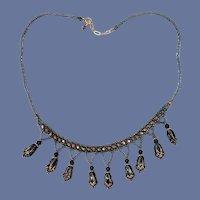 Glass Bead Necklace Handmade Edwardian Revival