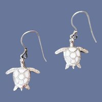 Tiny Sea Turtle Earrings Sterling and Enamel Child Size