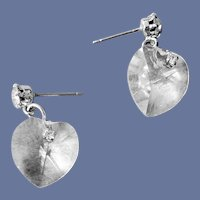 Faceted Clear Crystal Heart Pierced Earrings with Rhinestones