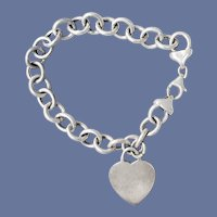 Sterling Link Bracelet With Heart Charm 17.8 Grams