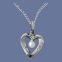 Sterling Silver Heart Necklace Real Pearl Child's Size